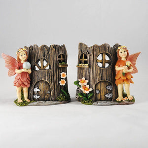 Fairy House Candle Holders Two Pair Tea Light Magic Pixie Elf Set of 2