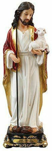 Jesus Good Shepherd Statue Christ Baby Lamb Religious Ornament Figurine Gift