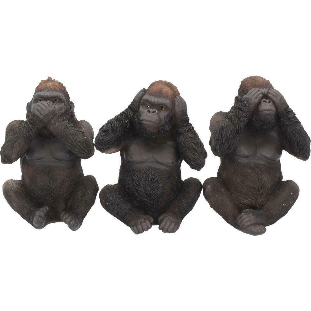 Three Wise Gorillas Figurine Gorilla Ornaments Sculptures Statues Gifts
