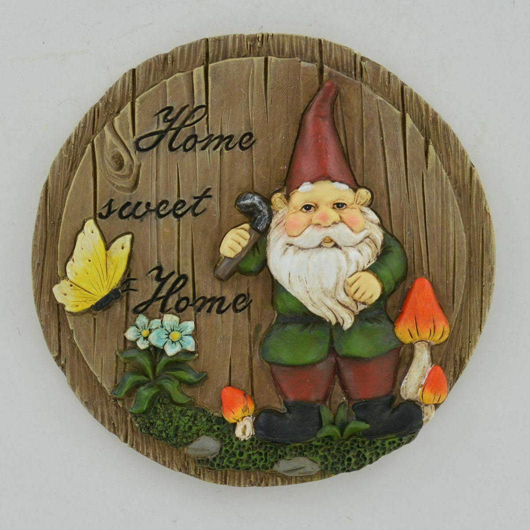 Home Sweet Gnome Elf Wall Plaque Garden Ornament Sculpture Gift