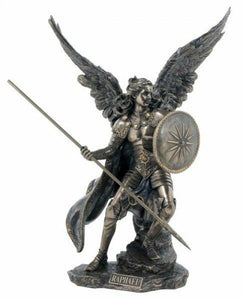 Bronze Effect Statue Archangel Raphal Figurine Ornament Religious Sculpture