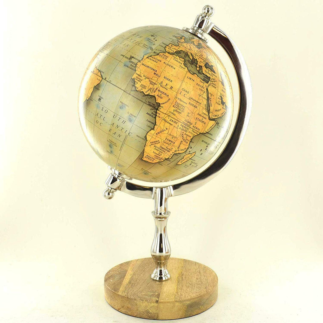 Antique Effect World Atlas Globe Ornament Vintage Globes on Stand Mango Wood