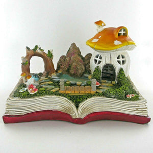 Fairy Garden Ornament House on Magic Book Decor Sculpture