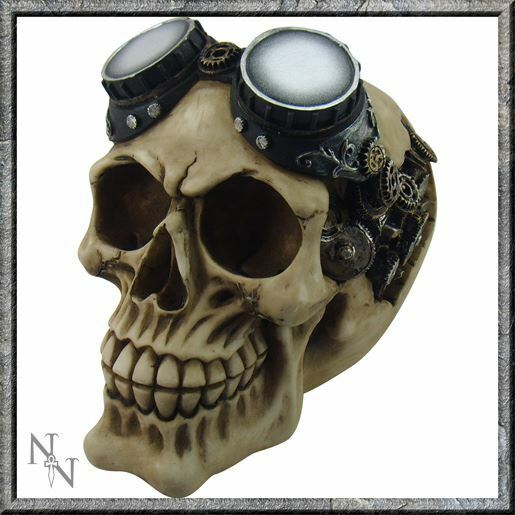Collectable Ornamental Steampunk Goggles Skull 15cm