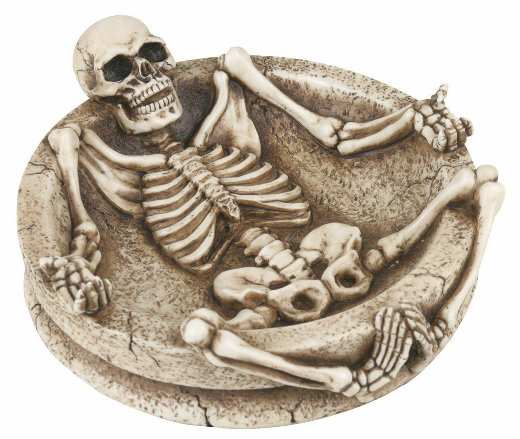 Lying Down Skeleton Ashtray Collectible Skull Figurine Smoke Statue
