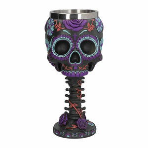Day of the Dead Skull Goblet Skeleton Chalice Ornament 18cm