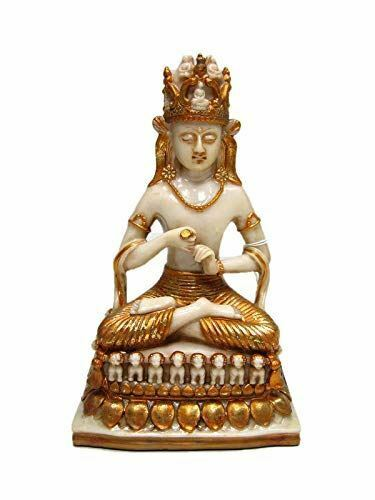 Golden Meditating Buddha Ornament Feng Shui Antique Effect Lotus Statue Figurine