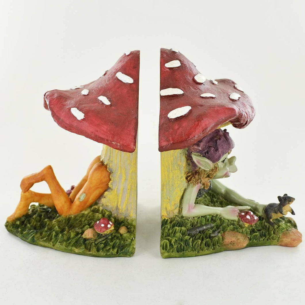 Pixie Mushroom Bookends Fantasy Sculptures Fairy Elves Study Office Decor