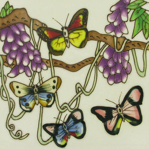 "HAND PAINTED CERAMIC WALL TILE ""BUTTERFLIES"" WALL ART 8"" x 8"" NEW & BOXED"