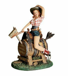 Novelty Cowgirl Sitting on a Barrel Figurine Pin Up Statue Sculpture Ornament