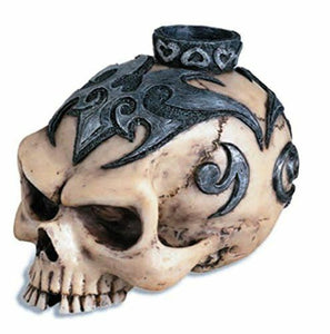 Large Tribal Skull Candle Holder Figurine Ornament Gothic Horror