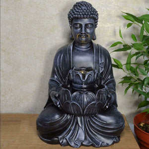 Tranquility Buddha Water Fountain With Light Indoor Water Feature Ornament