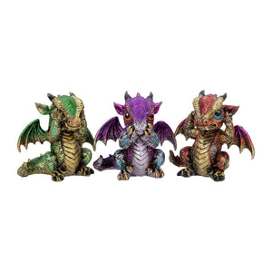 Three Wise Dragon Statues Sculptures Small Figurines Statuettes Gift
