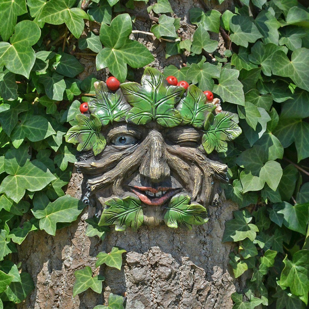 Tree Ent Face Wall Plaque Garden Ornament Greenman Wicca Pagan Sculpture