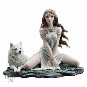Storm Maiden Lady and Wolf Figurine Statue Magical Sculpture Ornament 16.5cm