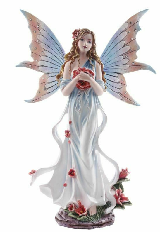 Large Butterfly Wings Rose Fairy Sculpture Statue Mythical Creatures Figure Gift