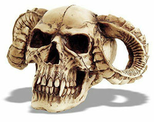 Large Horned Demon Skull Devil Figure Ornament Pagan Wiccan Sculpture