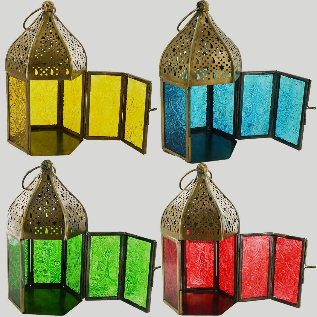 Set of 4 Antique Effect Moroccan Style Lanterns Candle Holders Ornaments