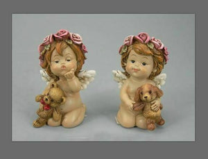 Pair of Guardian Angel Figurine Cherub Holding Teddy Statue Ornament Sculpture