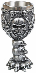 Silver Effect Skulls and Bones Goblet Chalice Drinking Cup Ornament Decoration