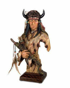 Native American with Bison Headdress Ornamental Statue