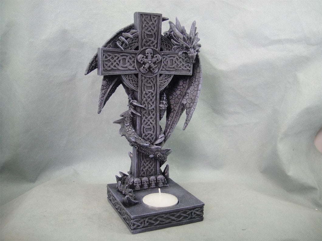 Celtic Dragon Wrapped Around Celtic Cross T-light Holder Gothic Decor