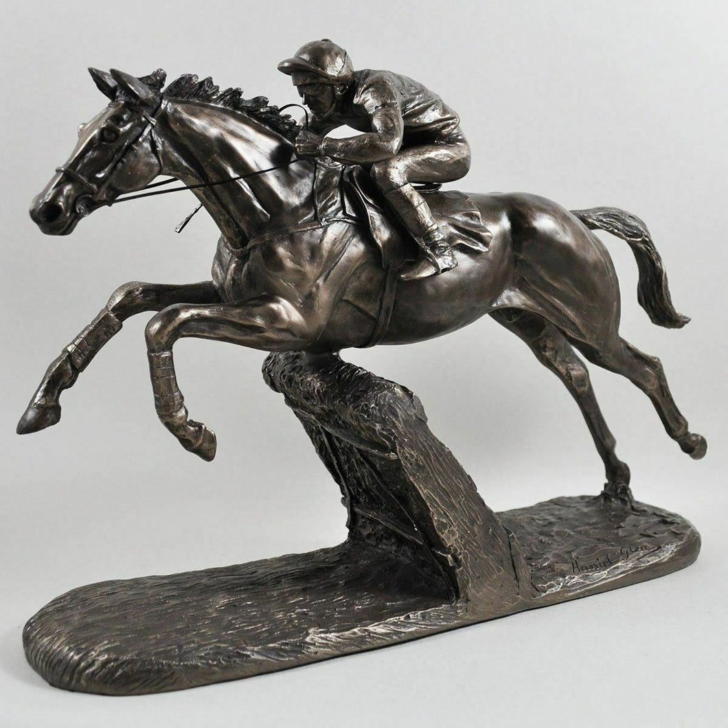 The Hurdler Bronze Horse Racing Jockey Statue Sculpture Equestrian Gift Figure