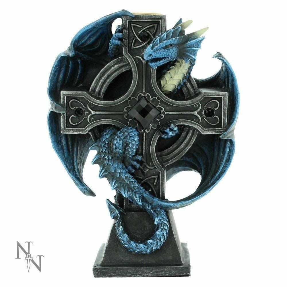 Blue Dragon Mystyc Cross Candle Holder Figurine Statue Ornament or Gothic Gift