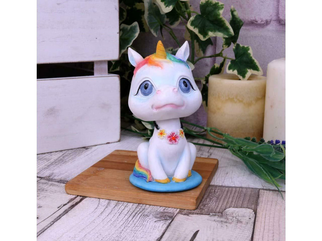 Comical Unicorn Rainbow Bobblehead Figurine Sculpture Figure 10.5cm