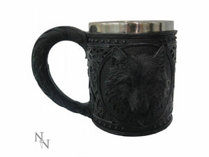 Black Wolf Face Medieval Style Tankard Drinking Cup Ornament 15.4cm