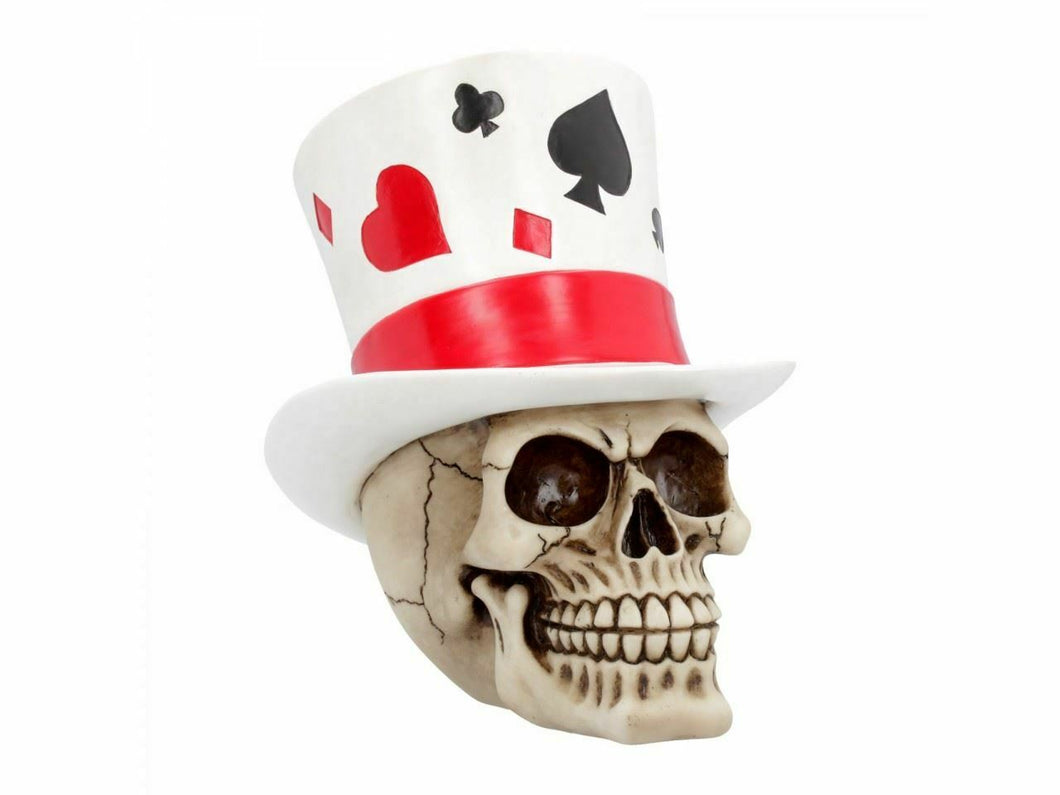 CASINO JACK SKULL POKER CARD PLAYER SKULL FIGURINE STATUE SCULPTURE ORNAMENT