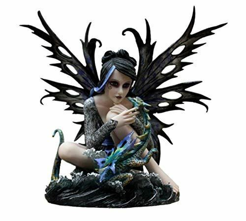 Large Elemental Fairy with Dragon Companion Figurine Statue Ornament Sculpture