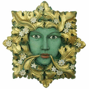 Green Flora Greenman Decorative Garden Wall Plaque. 13cm