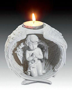 Praying Cherub in Wings T-light Holder Ornament