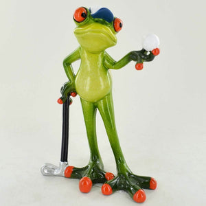 Comical Frogs Golfer Small Resin Figurine Ornament Statue