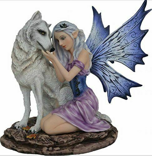 Fantasy Purple Fairy with Wolf Display Figurine Statue Magical Ornament Gift