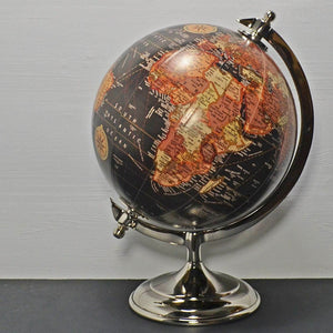 "Antique Effect Globe in Black 8"" with Metal Base Desk Study Ornament Decoration"