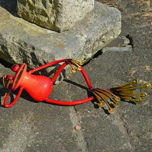 Red Metal Frog Garden Ornament Lawn Decoration Figure  Art Decor Figurine