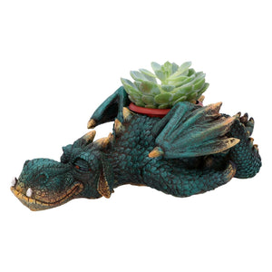 Green Dragon Garden Ornament Plant Pot Sculpture Statue Figurine Gift