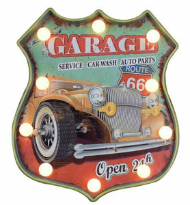 Vintage Metal 3D LED Logo Sign Route 66 Garage Motorcycle Man Cave Wall Plaque