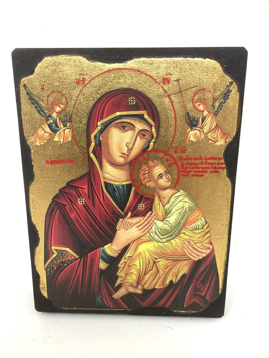 Virgin Mary and Baby Jesus Picture Hanging Icon Style Religious Wall Plaque