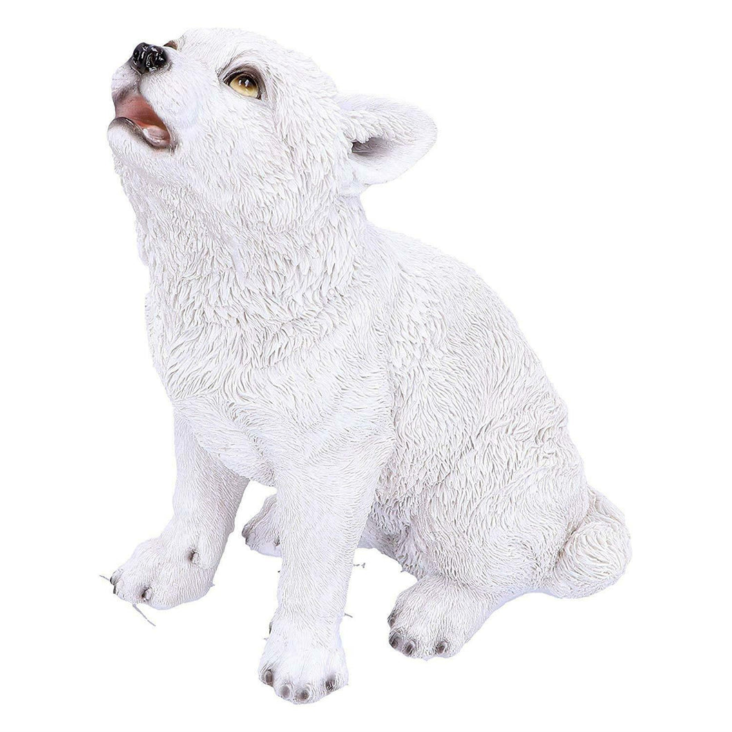 Howling Wolf Pup Figurine Statue Winter Sculpture Wolves Ornament Gift
