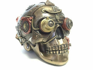Steampunk Skull with Leather Texture Trinket Box Ornament Sculpture Decoration