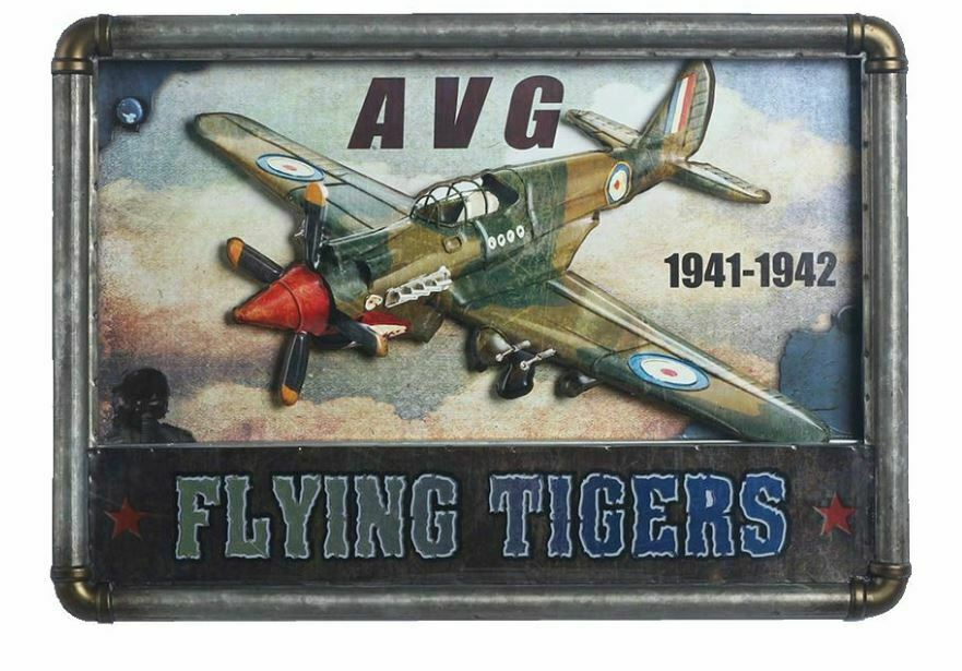 Antique Vintage LED Metal 3D  Logo Sign Air Craft AVG Jet Cave Wall Plaque