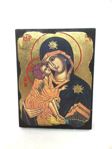 Virgin Mary and Baby Jesus Picture Icon Style Religious Wall Plaque Decor