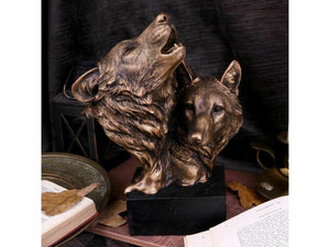 Howling Wolves Bust Figurine Wolf Head Sculpture Statue Ornament Gift