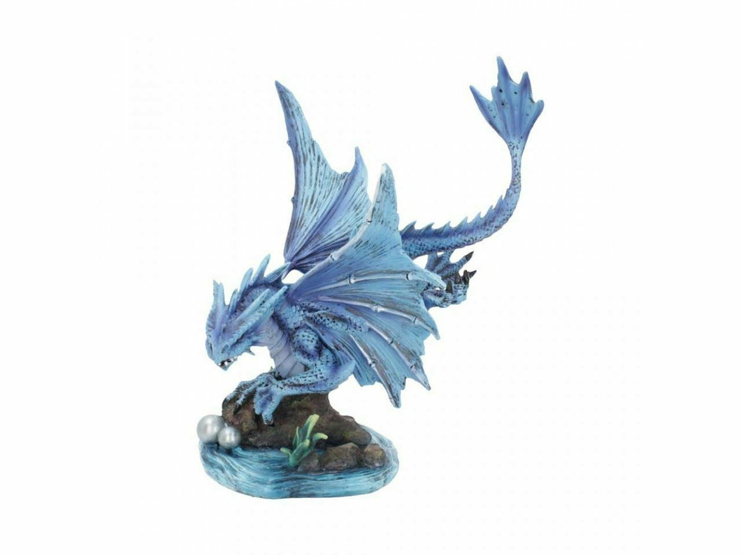 Blue Water Dragon on Rock Figurine Statue Ornament Sculpture Anne Stokes