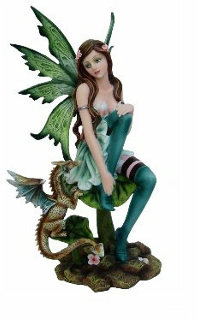 Green Fairy Sat with Dragon Figurine Statue Ornament Figure Statuette