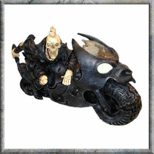 Skeleton on Motorbike 29cm Gothic Decor Skull Biker Gift Statue Sculpture