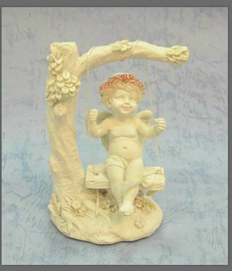 Guardian Angel Figurine Cherub Swinging From Tree Statue Ornament Sculpture